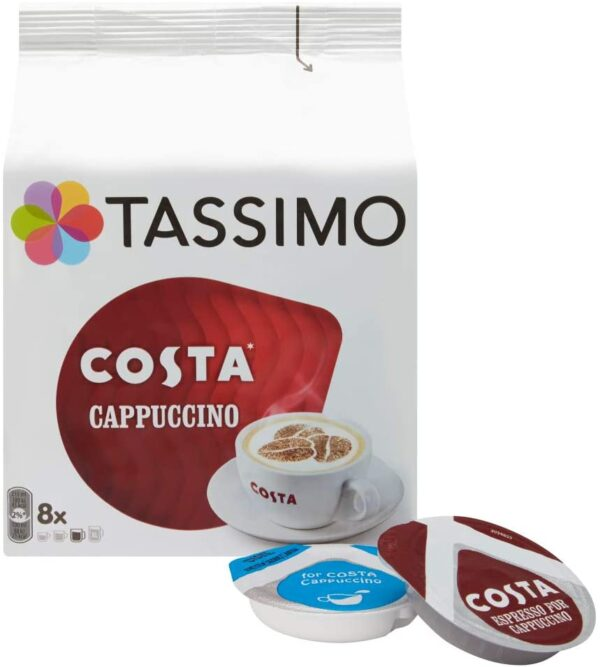 Tassimo Costa Cappuccino coffee (Pack of 5, Total 80 pods, 40 servings)