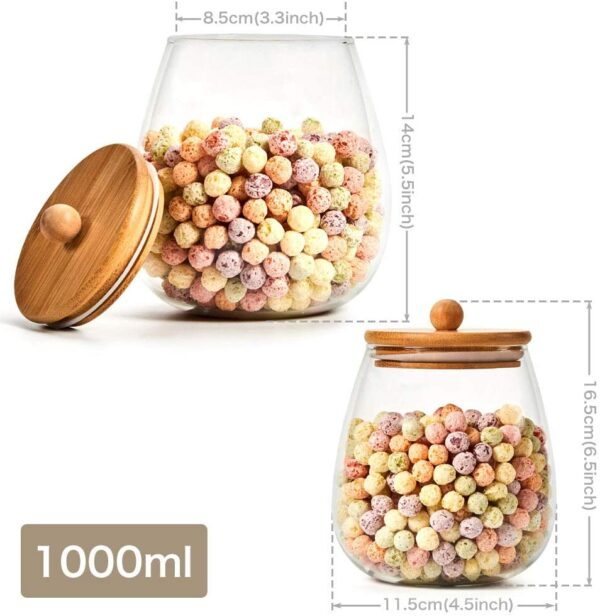 EZOWare 4 Piece Round Clear Glass Jars, Air Tight Decorative Canister Kitchen Food Storage Container Set with Natural Bamboo Lids for Candy, Cookie, Rice, Sugar, Flour - 1000ml