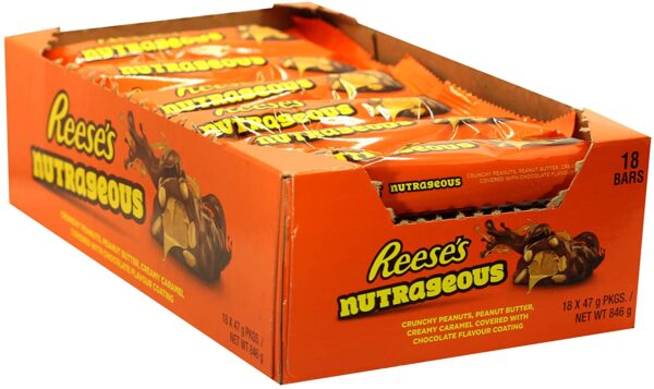 Reese's Peanut Butter Nutrageous Bars, Milk Chocolate Flavour Bars, Pack of 18 x 47 g