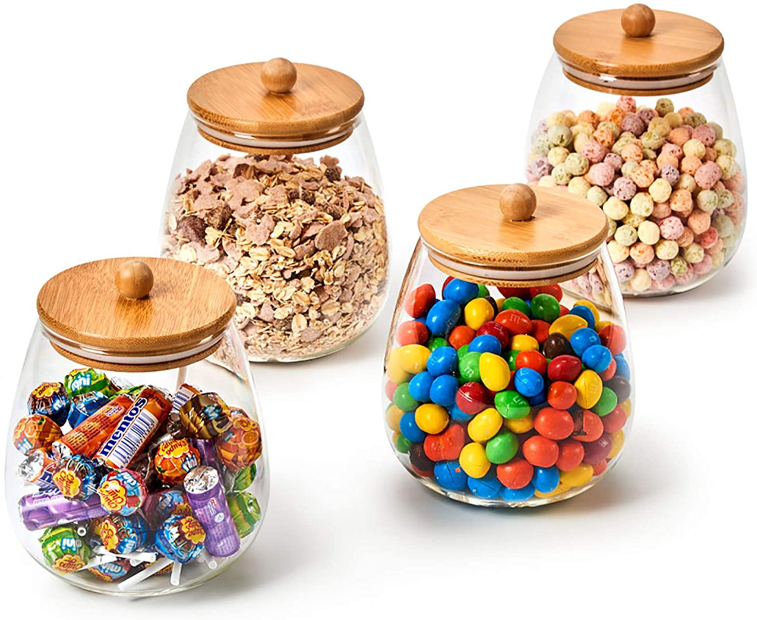 Ezoware 4 Piece Round Clear Glass Jars Air Tight Decorative Canister Kitchen Food Storage Container Set With Natural Bamboo Lids For Candy Cookie Rice Sugar Flour 1000ml 9stroke
