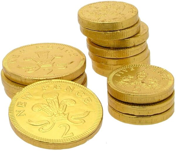 Gold Net of Gold Foiled Milk Chocolate Coins in a Drum 60 x 25g