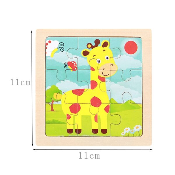 Intelligence Kids Toy Wooden 3D Puzzle Jigsaw Tangram for Children Baby Cartoon Animal/Traffic Puzzles Educational Learning Toys
