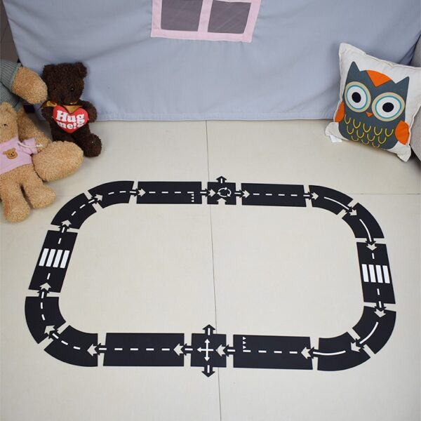 Children road building motorway toy car traffic roadway flexible PVC Puzzles Track Play Set DIY universal accessories game scene