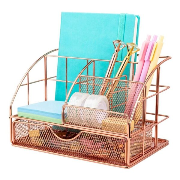 Desk Organizer for Women, Mesh Office Supplies Accessories Caddy with Drawer for Home Office Desktop Organization