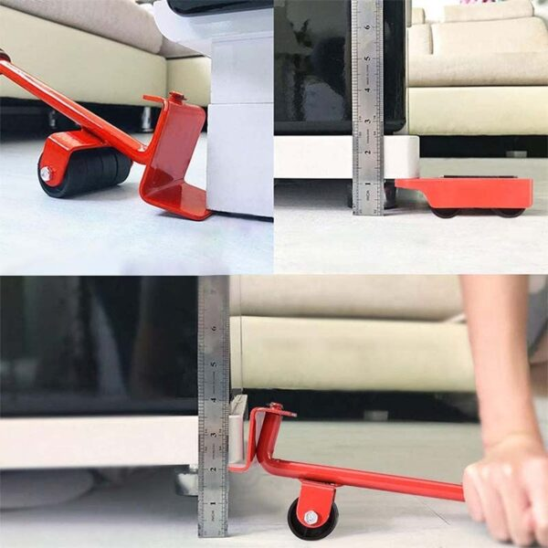 ZK30 5 PCS Furniture Mover Tool Set Furniture Transport Lifter Heavy Stuffs Moving Tool Wheeled Mover Roller Wheel Bar Hand Tool
