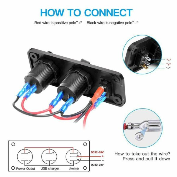 Boat Marine Dual USB Charger LED Voltmeter 12V Power Socket On-Off Switch Panel Black Marine Dual USB Charger Boat Accessories