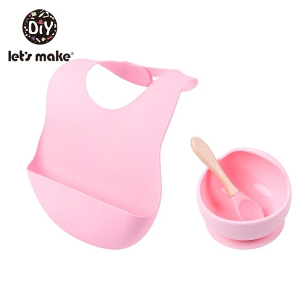 Let'S Make 1set Silicone Baby Feeding Set Waterproof Spoon Non-Slip Feedings Silicone Bowl Tableware Baby Products Baby Plate