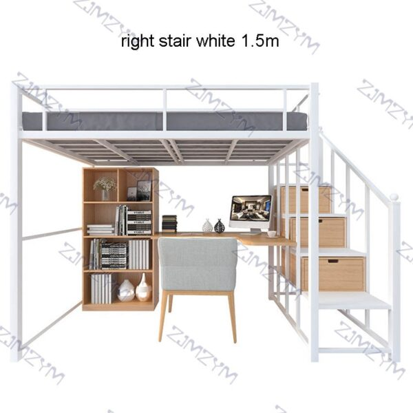 Nordic Metal Bed Space Saving Student Dormitory Bunk Bed Sturdy Frame Easy Assembly Metal Loft Bunk Bed With GuardRail Ladder