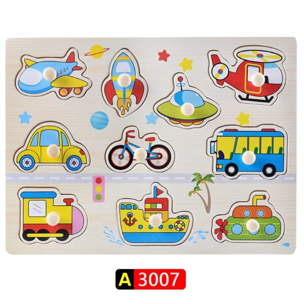 Big Size Baby Montessori Wooden Puzzle Hand Grab Board Set Educational Toys Infantil Cartoon number letter Math Puzzle kids Gift