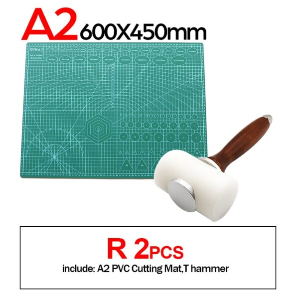 Professional Self-Healing, Double-Sided PVC Cutting Mat, Rotary Blade Compatible, Hammer,Hole Punches Leather Tool Set Sewing