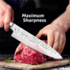 Kitchen Knife 8 inch Professional Japanese Chef Knives 7CR17 Stainless Steel Full Tang Meat Cleaver Vegetable Slicer Santoku