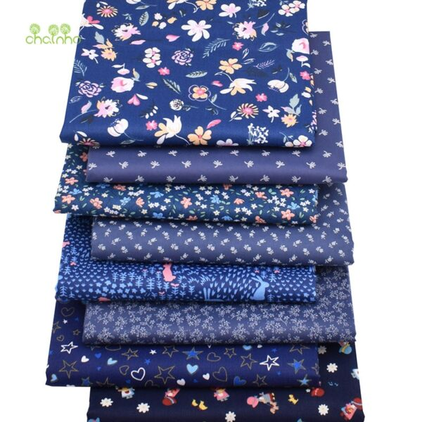 Chainho,8pcs/Lot,Dark Blue Floral Series,Printed Twill Cotton Fabric,Patchwork Cloth ForDIY SewingQuilting Baby&ChildrenMaterial