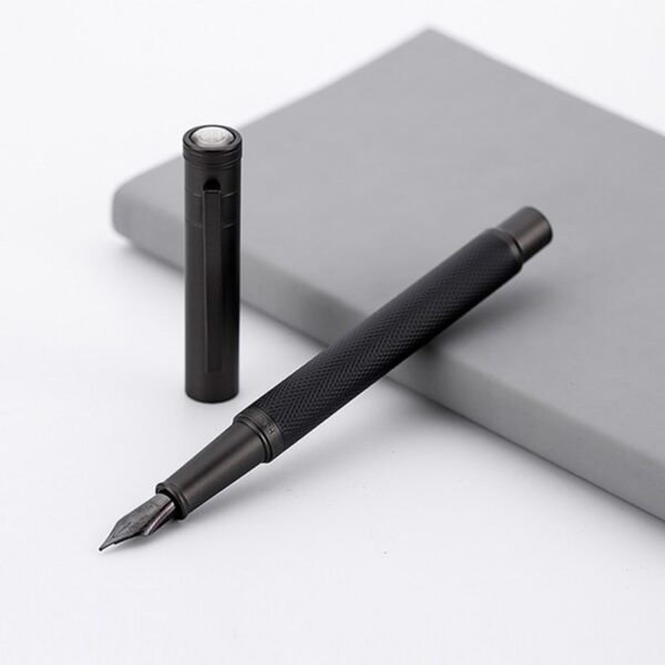 Black Metal Fountain Pen Titanium Black EF/F Nib High Quality Tree Texture Excellent Writing Gifts For Business Office Supplies