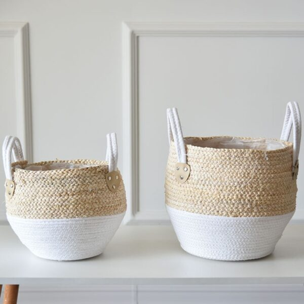 Nordic Handmade Straw Laundry Picnic Toy Storage Basket Macrame Woven Flower Pot Plant Container Planter Home Decoration