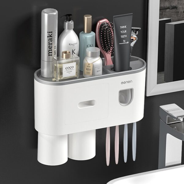 BAISPO Magnetic Toothbrush Holder Bathroom Accessories Automatic Toothpaste Squeezer Dispenser For Home Bathroom Sets Storage