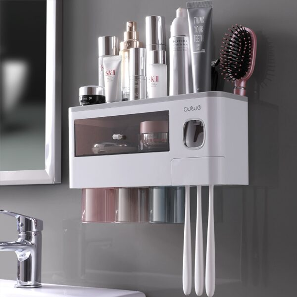 ONEUP New Toothbrush Holder For Bathroom Automatic Toothpaste Squeezer Wall With Cup Storage Rack Organizer Bathroom Accessories