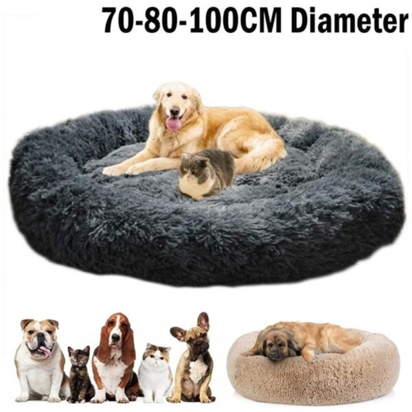 Round Long Plush Dog Beds for Large Dogs Pet Products Cushion Super Soft Fluffy Comfortable Cat Mat Supplies Accessories