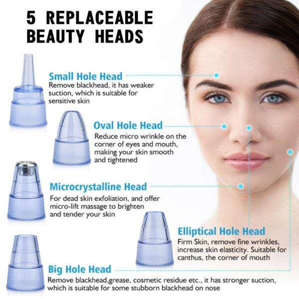 Blackhead Remover Vacuum Electric Nose Beauty Face Deep Cleansing Skin Care Vacuum Black Spots Acne Pore Cleaner Pimple Tool
