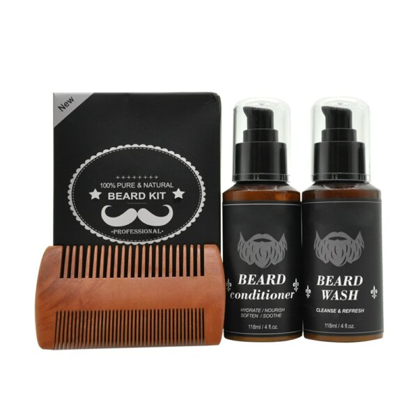 100% Pure Natural Profession Men Beard Care Kit 7Pcs/set Leave-in Conditioner Moisturizing Beard Growth Oil Grooming Enhancer