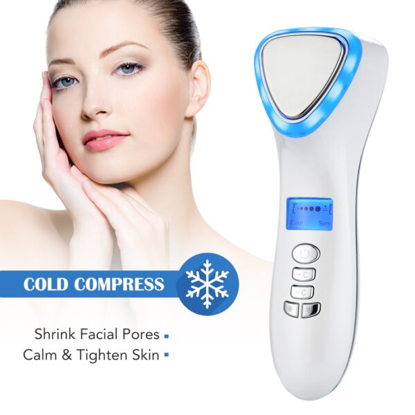 LED Hot Cold Face Skin Care Device Massager Hammer Ultrasonic Cryotherapy Facial Vibration Red Blue Light Ion Beauty Instrument