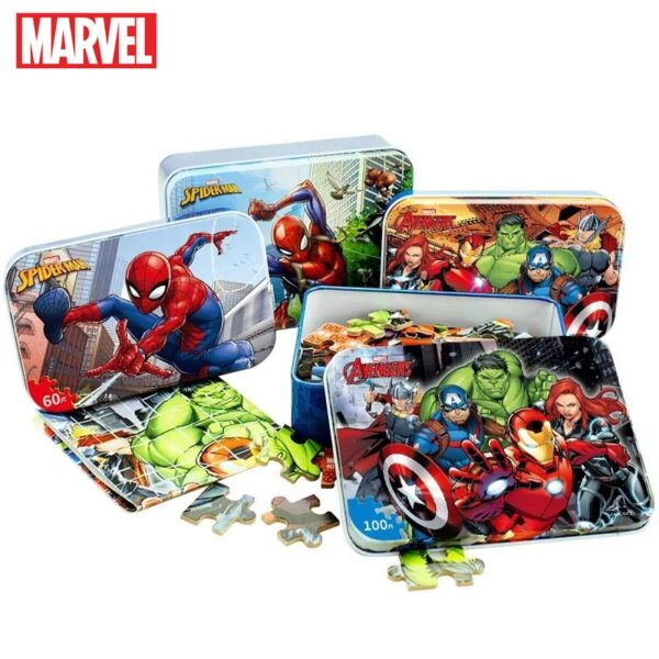 Marvel Avengers Spiderman Car Disney Puzzle Toy Children Wooden Jigsaw Puzzles Kids Educational Toys for Children Gift