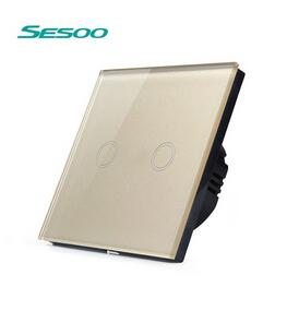 SESOO EU Standard Touch Switch 2 Gang 1 Way,White,Crystal Glass Panel, Smart Light Switch Wall Switch for Home Improvement