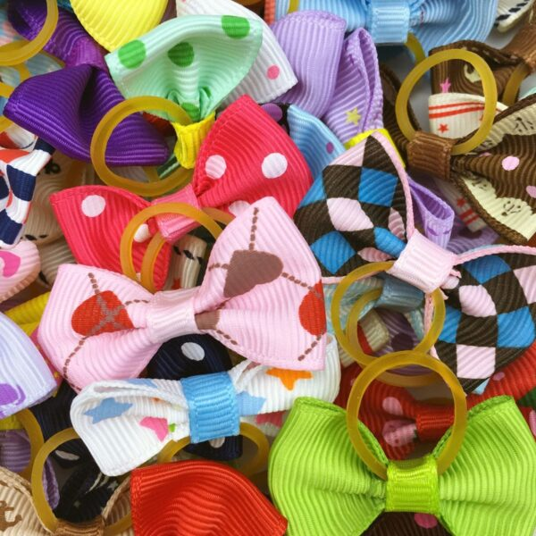(100 pieces/lot) Cute Ribbon Pet Grooming Accessories Handmade Small Dog Cat Hair Bows With Elastic Rubber Band 121 Colors