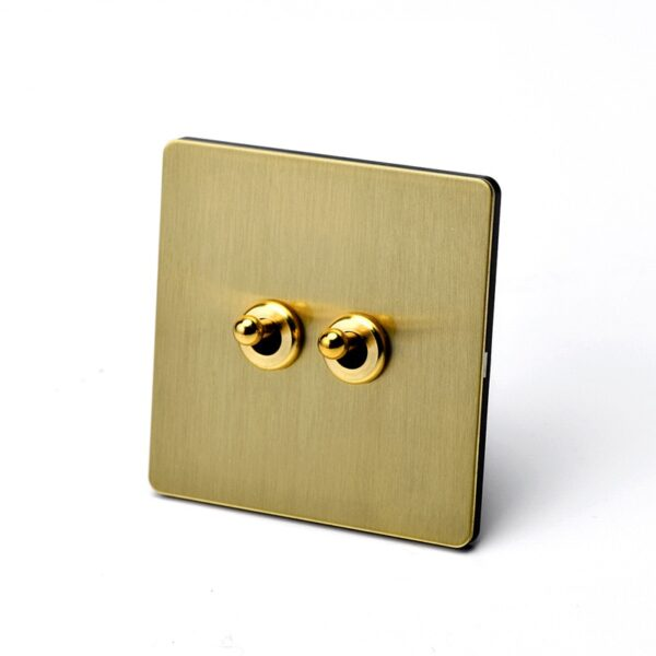 86 Type Home Improvement Wall Light Toggle Switch 2 Way Brass Brushed Panel Retro Lever Switch