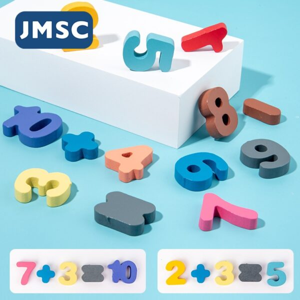 JMSC Baby Wooden Montessori Educational Toys Kids Early Learning Shape Color Math Matching Log Board Fishing Puzzle Count Number