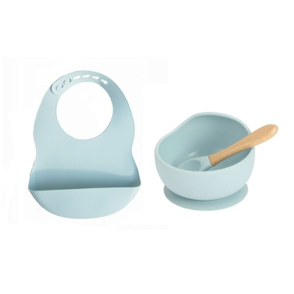 Baby Silicone Feeding Set Wooden Spoon Suction Bowl Baby Plate Kids Toddler Assist Tableware BPA Free High Quality Silicone