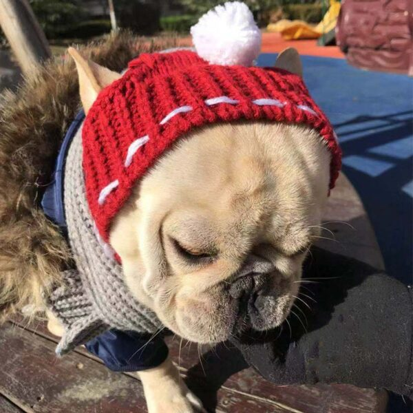 Winter Dog Cap Christmas Pet Hats Dog Accessories Woolen Puppy Hat With Ball Headwear for Small Dogs French Bulldog Pet Products