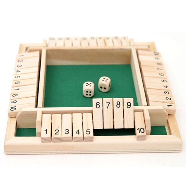 Shut The Box Dice Board Game 4 Sided 10 Number Wooden Flaps & Dices Game Set for 4 People Pub Bar Party Supplies Dropshipping