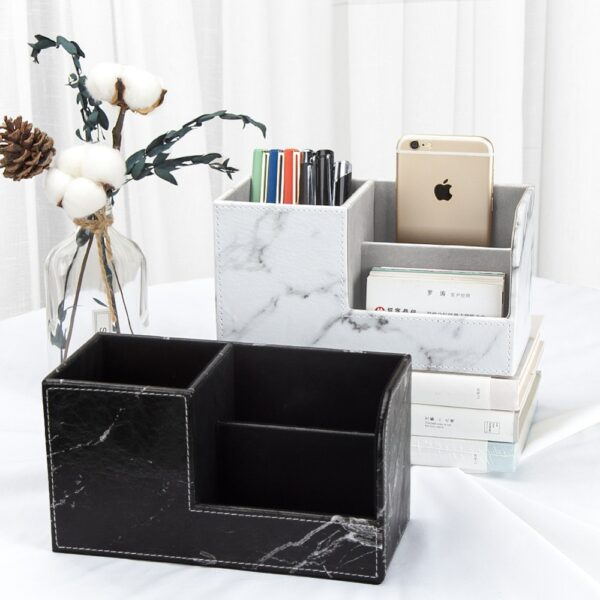 PU leather MultiFunction Desk Stationery Organizer Storage Box Containers Pen Pencil Box Holder Case Office Organization office
