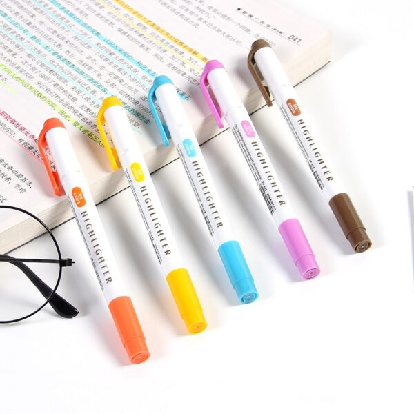 25 Colors/box New Highlighter Pen Fluorescent Markers Double Headed Highlighters Art Marker Art Supply Japanese Stationery