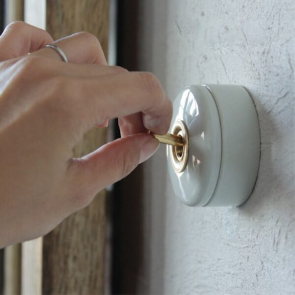 Home Improvement Round Ceramic Toggle Switch Wall Switch Single Control Light Creative On/Off Black White