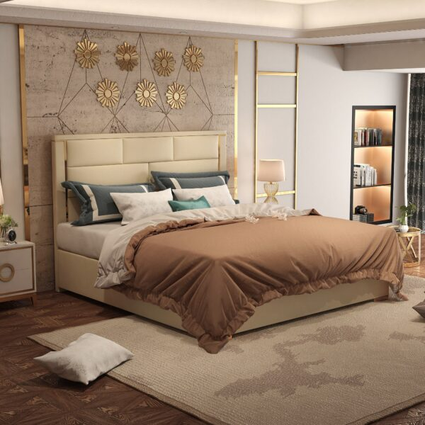 Aisi Luxurious golden metal bedroom furniture luxury soft leather bed comfortable bed frame