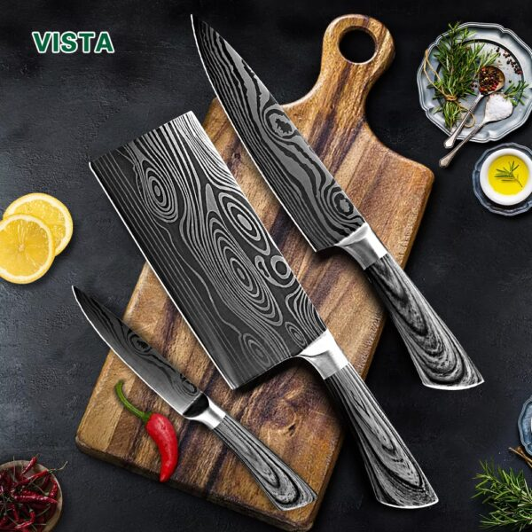 Kitchen Knife 5 7 8 inch 7Cr17 440C Stainless Steel Utility Cleaver Chef Knife Damascus Drawing Meat Santoku Cooking Tool Set