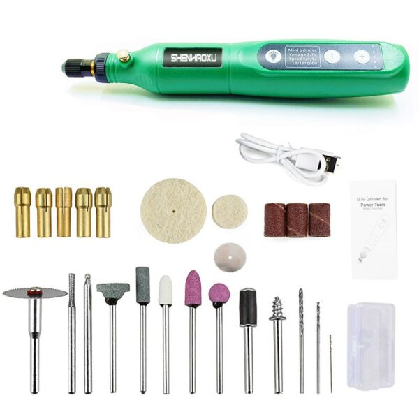 Electric Cordless Drill Power Tools 3.6V Grinder Grinding Accessories Set 5-Speed Adjustable Wireless Engraving Pen Led Light